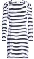 A.L.C. Lattice-Trimmed Striped Cotton-Jersey Mini Dress