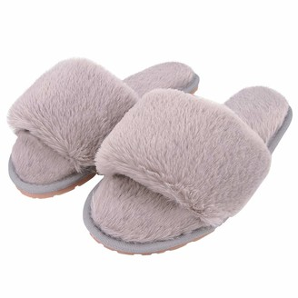 Jowebb Bsmartphone Ladies House Slippers Fluffy Faux Fur Open Toe Memory Foam Slipper for Women Comfortable Warm Cosy Non Slip