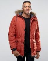 Threadbare 4 Pocket Parka Jacket With Faux Fur Trim Hood