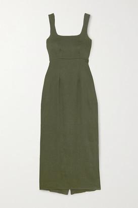BONDI BORN Linen-blend Maxi Dress - Army green