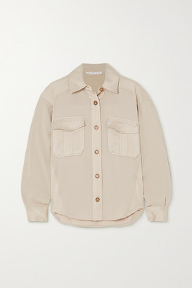 Veronica Beard Ainsley Satin-crepe Shirt - Beige