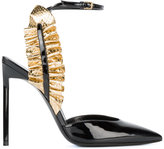 Saint Laurent Edie ruffle ankle strap sandals