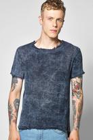 Boohoo Raw Edge Marble Wash Textured Scoop Hem T Shirt