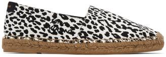 Saint Laurent Black and White Leopard Espadrilles