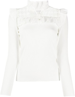 Sandro Coralie embroidered panel blouse