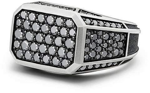 David Yurman Streamline Pavé Signet Ring with Black Diamonds