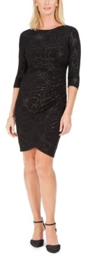 Jessica Howard Petite Floral Sequined Sheath Dress