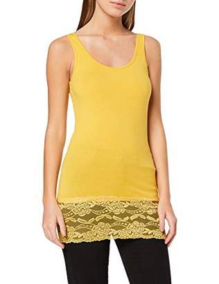 Jacqueline De Yong NOS Women's JDYAVA Long LACE TOP JRS NOOS Tank, Yellow Spicy Mustard, 10 (Size: S)