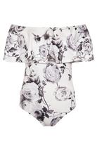 Quiz Cream and Grey Floral Print Bardot Bodysuit