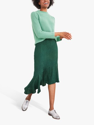 White Stuff Kanako Jacquard Midi Skirt, Green