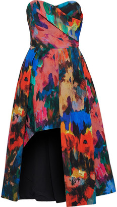 Black Halo Eve By Laurel Berman Strapless Asymmetric Printed Cady Gown