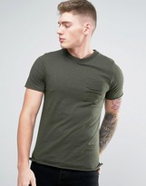 Jack and Jones Originals T-Shirt with Raw Edge Pocket and Textured Neck Detail