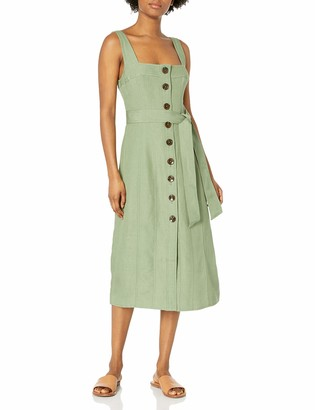 C/Meo Women's Sleeveless A-Line Button Front with Tie Belt Waist Occurrence Midi Dress