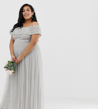 Bardot Maya Plus Bridesmaid maxi tulle dress with tonal delicate sequins in silver