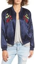 Tularosa Women's Mara Embroidered Satin Bomber Jacket