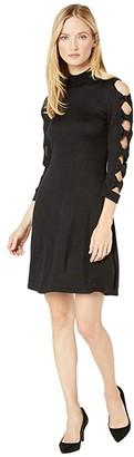 CeCe Bow Sleeve Mock Neck Sweater Dress (Rich Black) Women's Dress