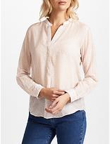 Hartford Carta Floral Print Silk Blend Shirt, Light Pink/Eggplant