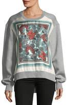 Burberry Mente Beast-Print Silk-Panel Sweatshirt