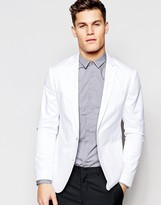 Asos Slim Blazer in Washed Cotton in White