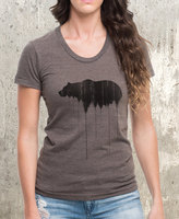 Etsy Women's Bear Above Tree Line T-Shirt - American Apparel Women's Tri-Blend Tee - Women's Small Throug