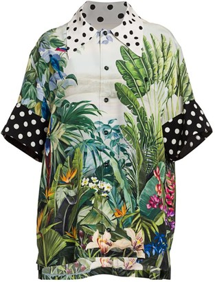 Dolce & Gabbana Polka Dot Trim Tropical Leaf-Print Blouse