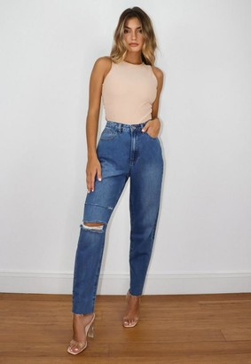 Missguided Blue Double Knee Rip Mom Jeans
