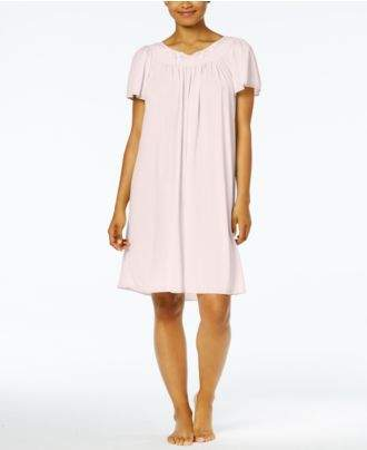 Miss Elaine Short-Sleeve Embroidered Nightgown