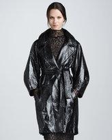 Jade Croc-Embossed Leather Coat