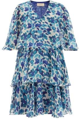 Adriana Degreas Lotus Leaf-print Chiffon Mini Dress - Womens - Blue Print