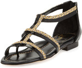 Eric Javits Brody Patent Caged Sandal, Black/Sulfate
