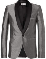 Saint Laurent Silver Slim-Fit Satin-Trimmed Woven Tuxedo Jacket