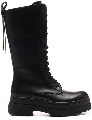 RED Valentino Mid Calf High Combat Boots