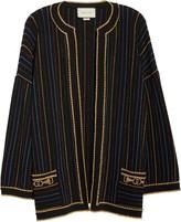 Gucci Metallic Stripe Wool Blend Sweater Jacket