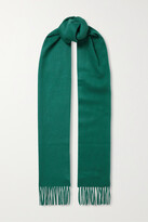 Thumbnail for your product : Johnstons of Elgin + Net Sustain Fringed Cashmere Scarf - Green
