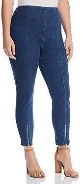 Lysse Plus Cropped Front-Zip Legging Jeans in Mid Wash