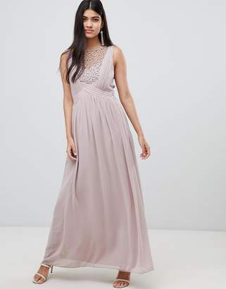 Little Mistress maxi dress with pearl embellishment-Pink