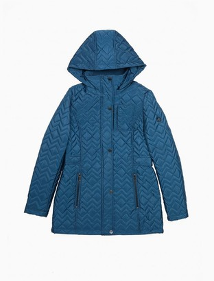 Calvin Klein Quilted Zig-Zag Zip Hooded Jacket