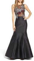 Xscape Evenings Women's Mesh & Mikado Gown