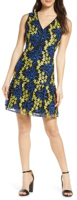 Sam Edelman Embroidered Sleeveless Mesh A-Line Dress