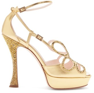 Roger Vivier Queen Crystal-embellished Leather Platform Sandals - Gold