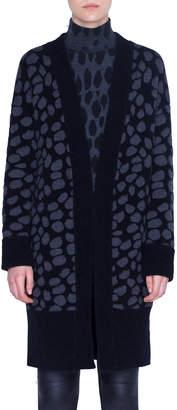 Akris Punto Animal-Print Wool Shawl Cardigan