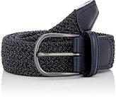 Barneys New York Men's Woven Nylon Belt-BLACK