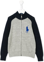Ralph Lauren logo embroidery zipped cardigan - kids - Cotton - 2 yrs