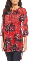 Figueroa & Flower Kendra Floral Print 2-Pocket Long Tunic