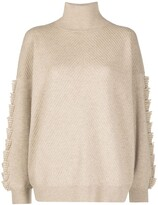 Thumbnail for your product : Barrie Textured Sleeve Cashmere Jumper
