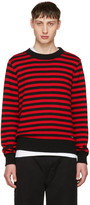 Ami Alexandre Mattiussi Black and Red Striped Sweater
