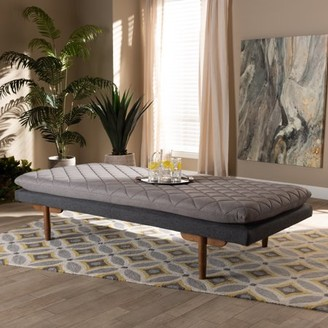 Baxton Studio Marit Mid-Century Modern Two-Tone Gray Fabric Upholstered Walnut Finished Wood Daybed