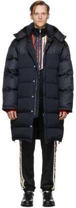 Gucci Black Down GG Supreme Coat