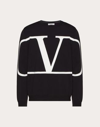 Valentino Viscose Vlogo Crew-neck Sweater Man Black Viscose 83%, Polyester 17% XXL