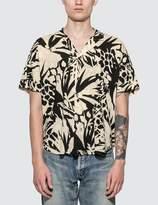 Saint Laurent Jungle Motif Short Sleeve Shirt -Black/White